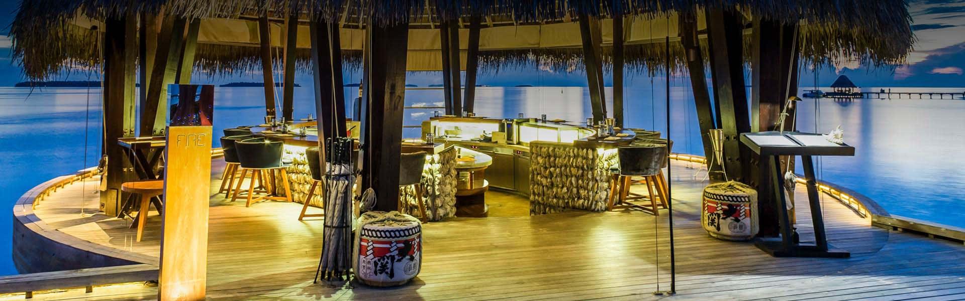 Dining at Fire in Anantara Kihavah Luxury Resort