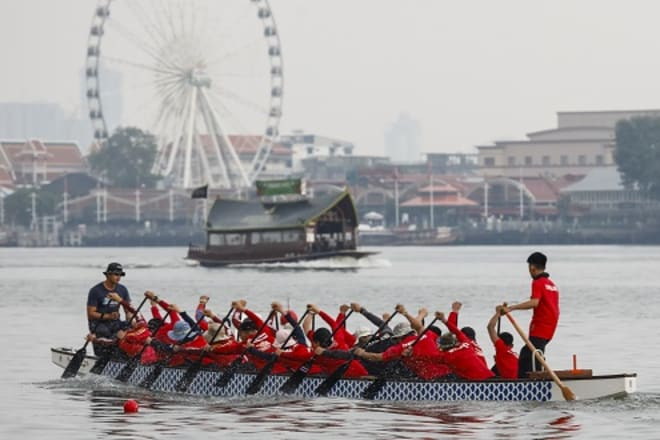 Rowers In Final Practice for Thailand's Annual Elephant Boat Races on the Chaopraya River