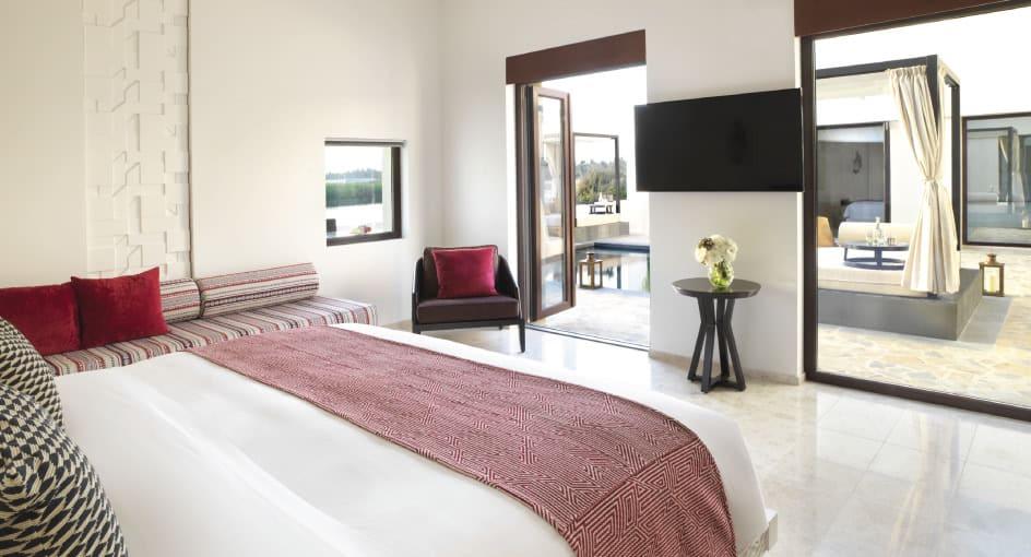 Bed with Outdoor Views at Two Bedroom Garden Villa at Al Baleed Resort Salalah