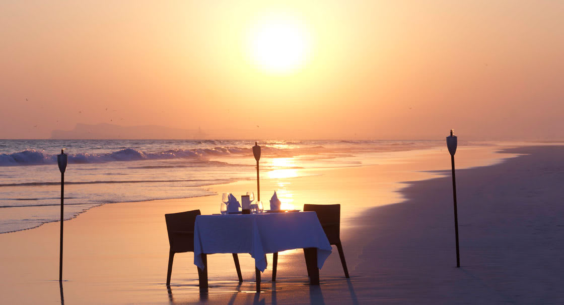 Dining on the Beach in Salalah During Sunset