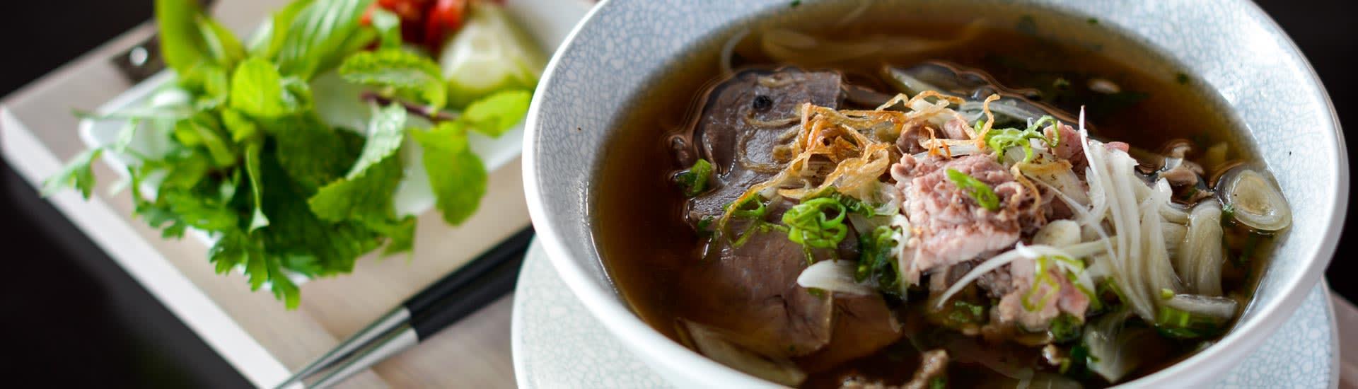 Pho Noodles Dish Mekong Restaurant