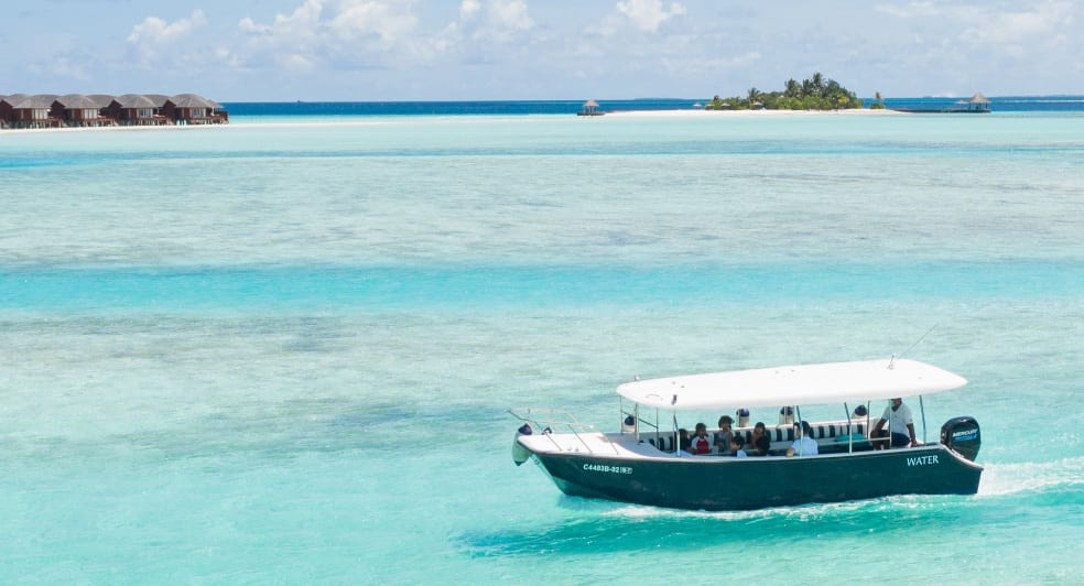 Anantara Dhigu Glass Bottom Boat Aerial Shot