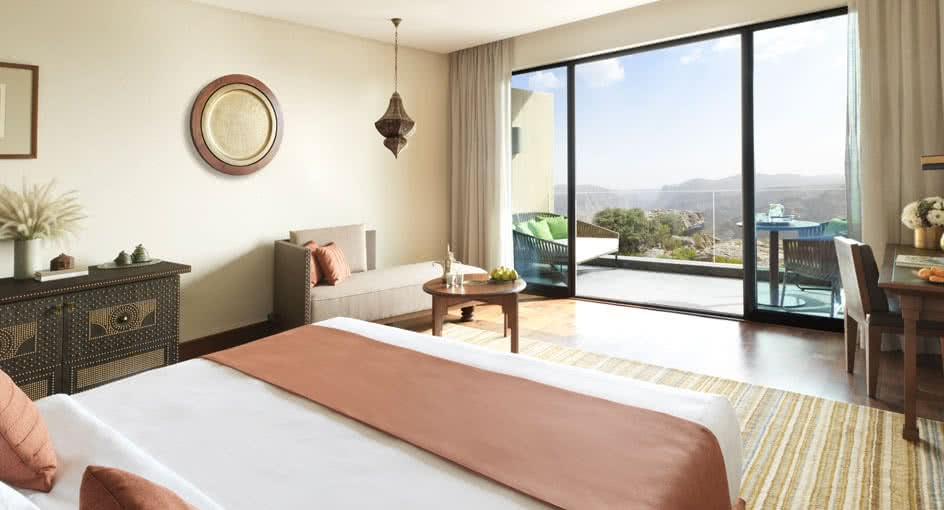 Spacious Bed with Canyon Views and Private Balcony in Nizwa Oman