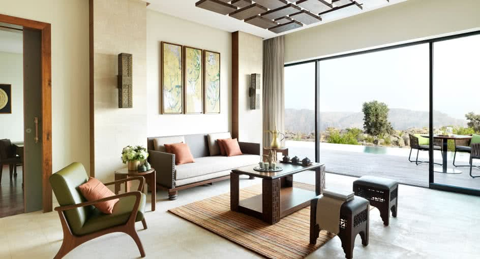 Living Spaces at Cliff Pool Villas of Al Jabal Al Akhdar Hotel Nizwa