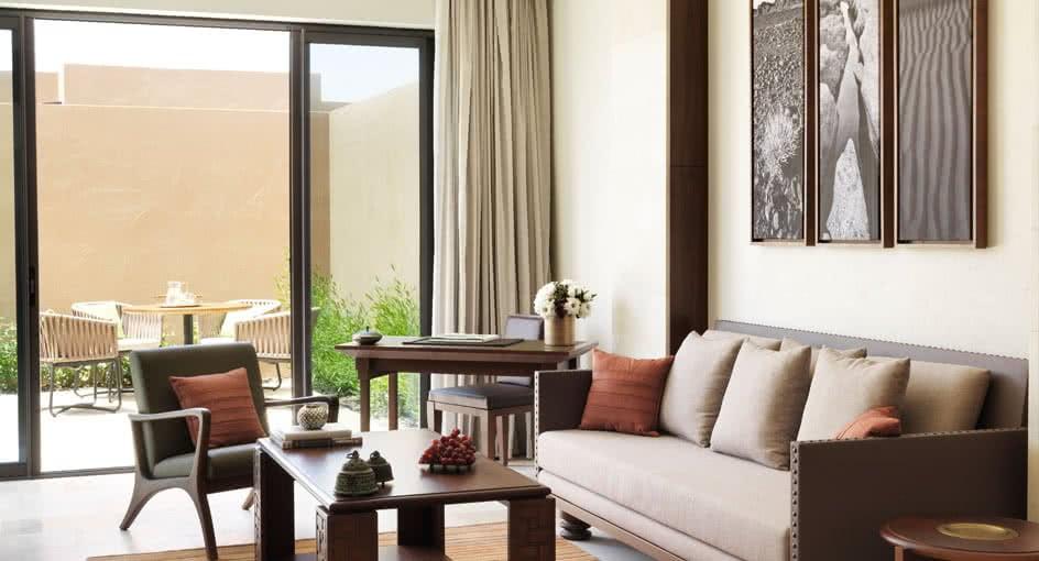 Living Room of One Bedroom Garden Villas with Seating Spaces at Anantara Jabal Resort
