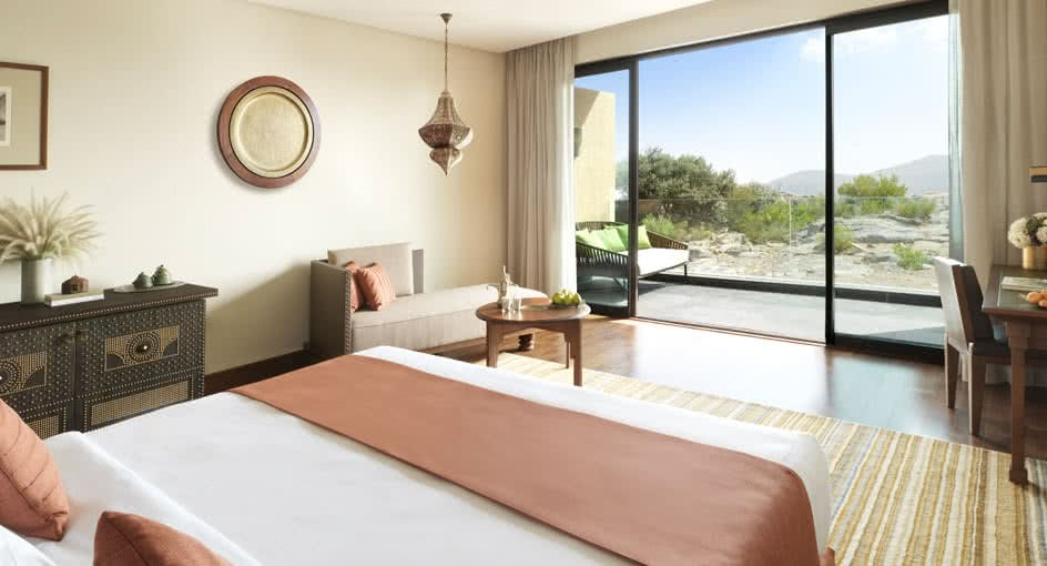 Spacious Bed at Premier Canyon View Room in Al Jabal Al Akhdar Resort