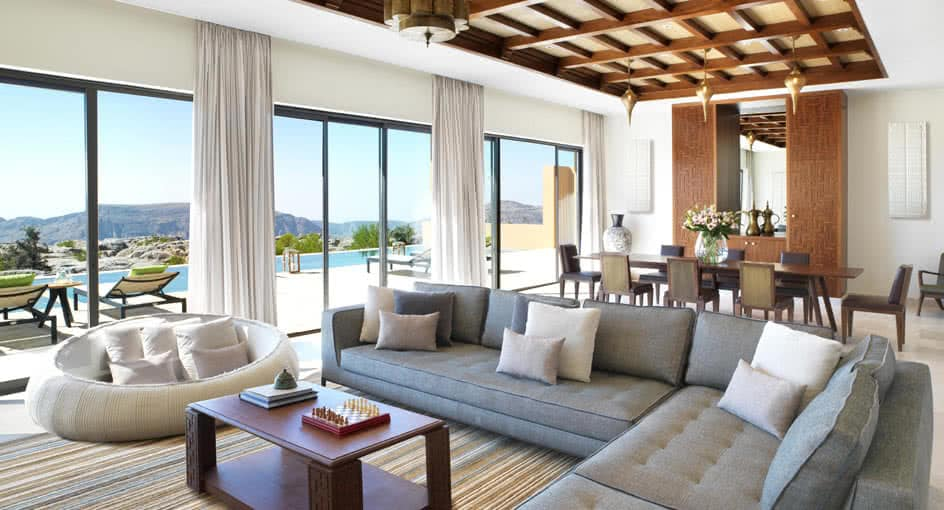 Luxury Living Spaces with Outdoor Views at Royal Mountain Villas Oman