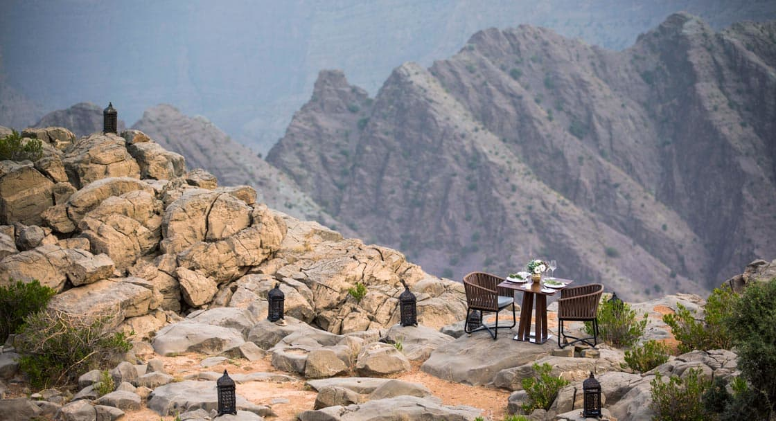 Dining on Top of Oman Green Mountains Experience