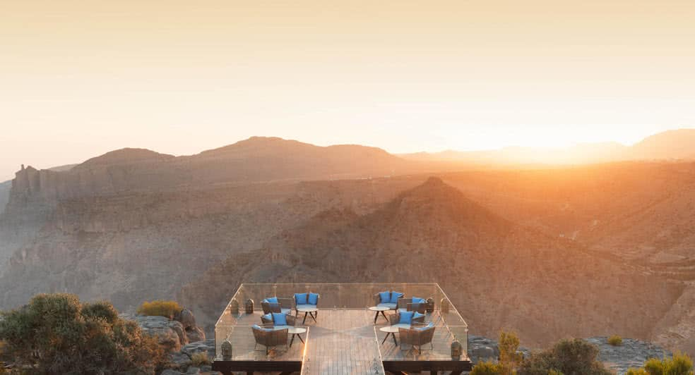 Mountain Viewpoint at Diana's Point During Sunset in Nizwa Oman