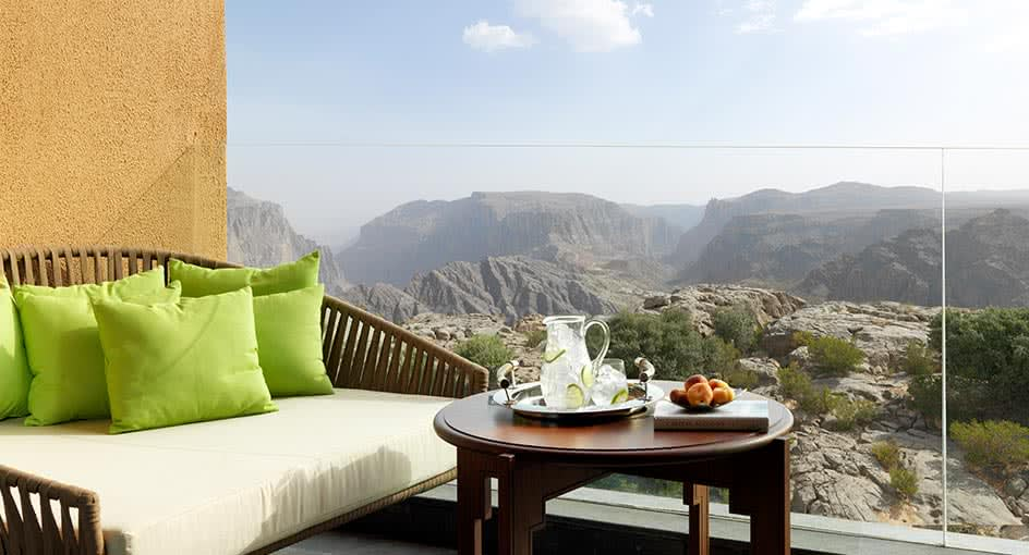 Outdoor Seating Facilities Overlooking the Green Mountains in Oman