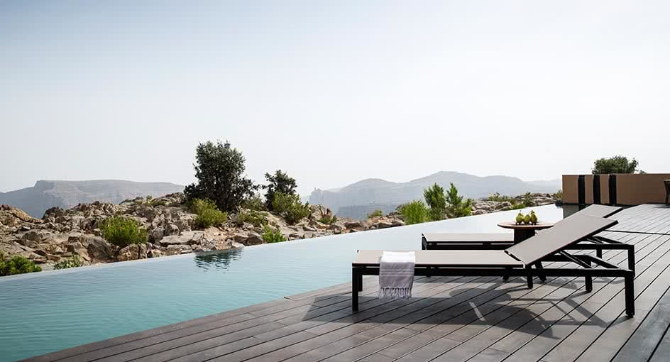 Pool Decks Overlooking the Oman Green Mountains