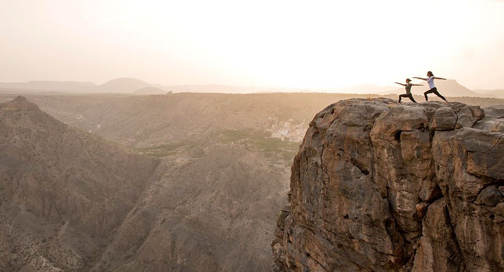 Morning Yoga Treatments on Top of Oman Green Mountains