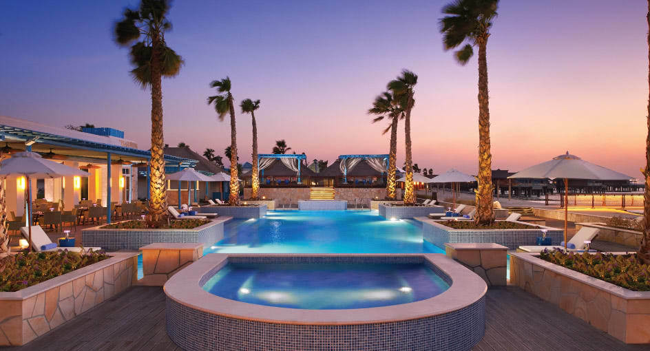 Evening View of Outdoor Pool in Doha Qatar