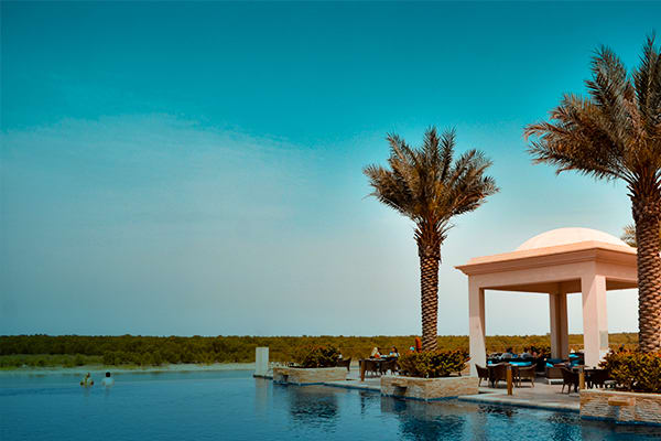 Swimming Pool of the Resort Overlooking the Tranquil Mangroves in UAE