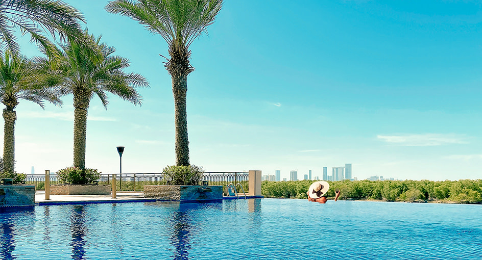 Chilling by the Pool Overlooking the Mangroves in Abu Dhabi