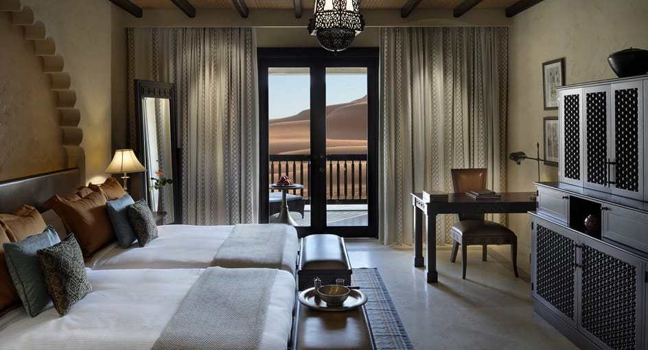 Twin Beds of Deluxe Balcony Room at 5 Star Hotel Abu Dhabi Overlooking the Desert