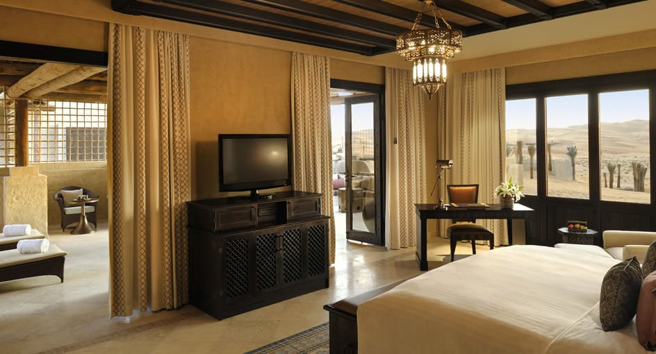 Spacious Bed with Desert Views at Deluxe Terrace Room of Abu Dhabi Resort