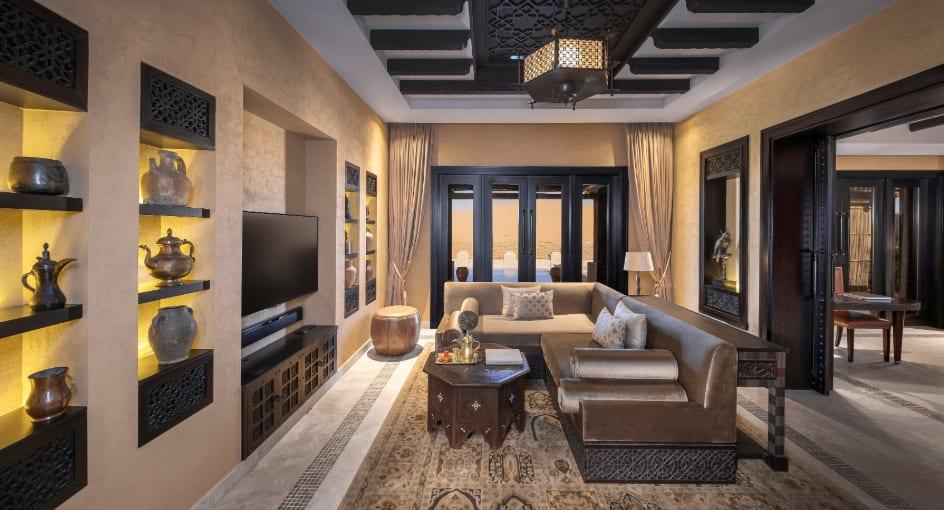 Spacious Living Room of Royal Pavilion Abu Dhabi Villa with Sofas