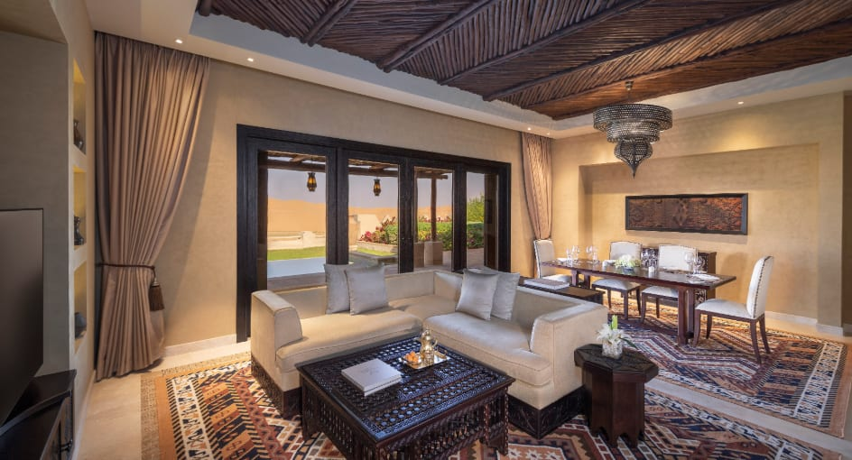 Living Room of Two Bedroom Abu Dhabi Family Villa with Sofas